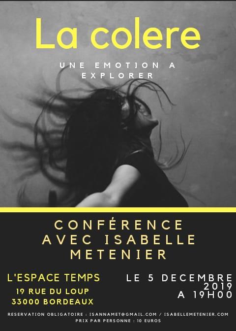 Conférence La Colère jeudi 5 décembre 2019